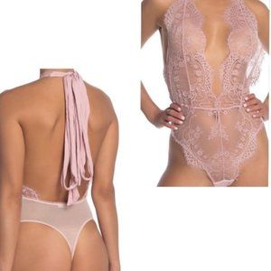 New Free People Lace Ballet Bodysuit Pink Small